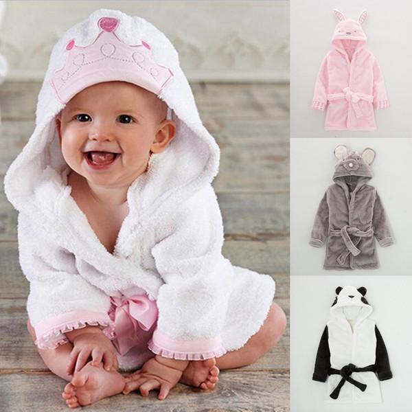 New Kids peignoir 4 modèles Kid Cartoon Nightgown Flanelle Accueil Vêtements Belle souris Panda Lapereau de longues robes de bain manches BJY733