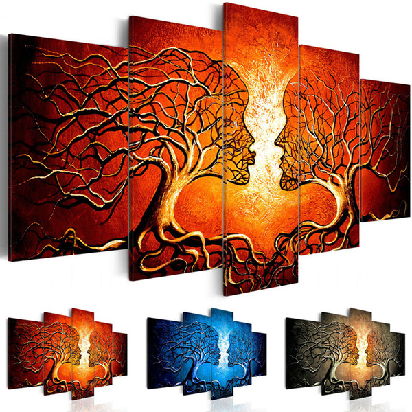 5 Pieces Kiss Tree Red Blue Yellow Color Love Pictures Prints Abstract Poster Modular Room Wall Art Canvas Painting Home Decor