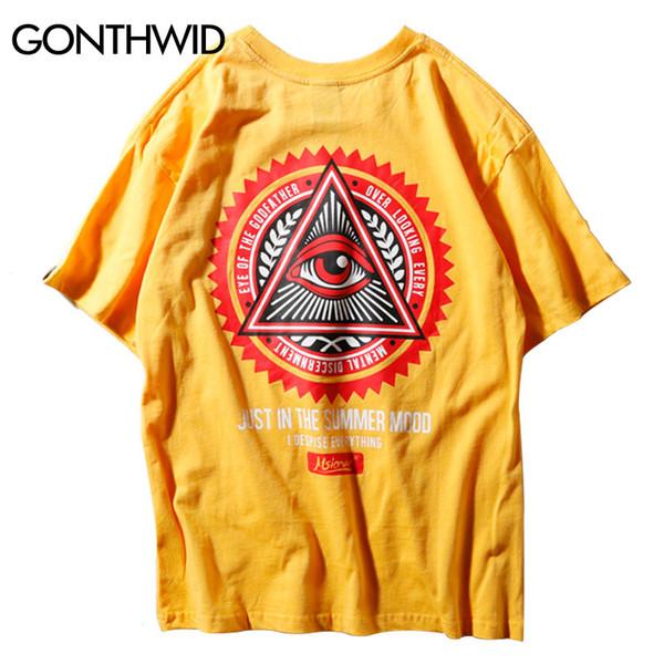 GONTHWID Geometri Üçgen T Shirt erkek Hip Hop Godfather of Göz Baskılı Casual Pamuk Streetwear Tops Tees Streetwear Tişörtleri