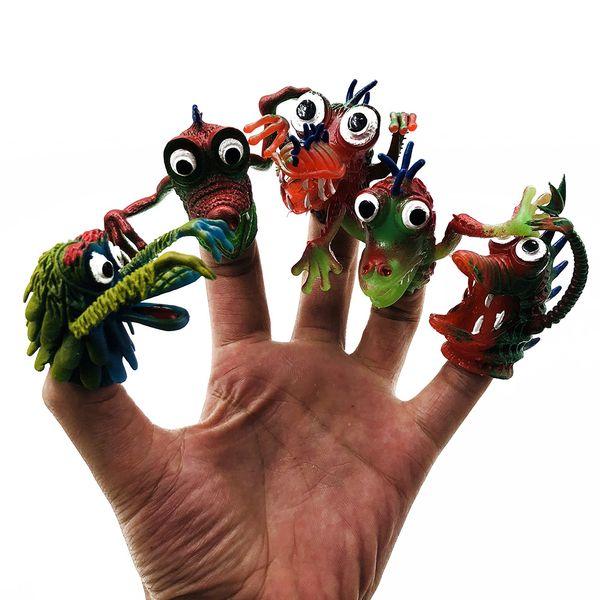 5pcs/1set Creative new strange children's finger simulation animal silicone finger set boy bedtime story funny doll toy