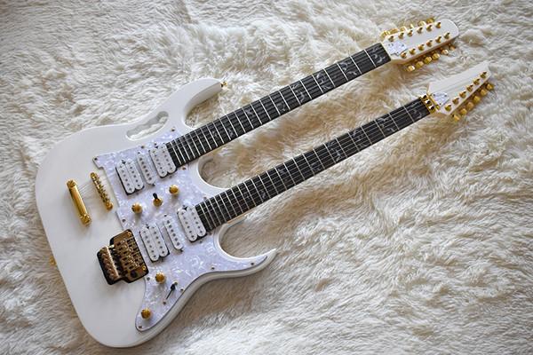 Guitare électrique blanche à deux cols personnalisée avec 6 + 12 cordes, touche en palissandre, incrustation d'arbre de vie, peut être personnalisé