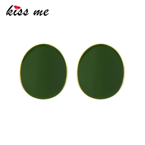 New Big Stud Earrings Unique Gold Color Copper Green Enamel Geometric Earrings For Women Fashion Jewelry