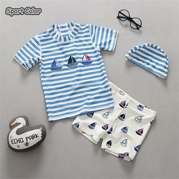 Lovely Kids Swimsuit Boys Baby Anti UV Swimwear Two-pieces Bath Suit Infant Blue Stripe Children Quality Beachwear 1-8Years