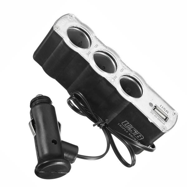 Chargeur de port adaptateur adaptateur allume-cigare diviseur USB allume-cigare multi voiture 3 voies