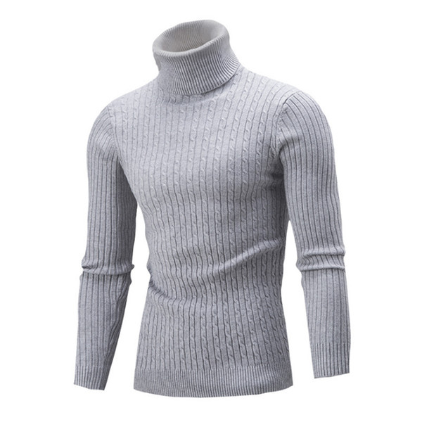 England style Autumn Winter Mens Knitted Sweater Turtleneck Pullovers Warm Turn-down Collar Slim Fit Sweaters For Man