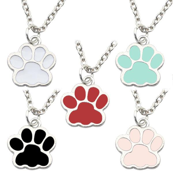 Trendy schöne Hunde Kätzchen Katze Klaue Anhänger bunte Legierung bezaubert niedlichen Tier Füße Fußabdruck Halskette Charme für Mädchen