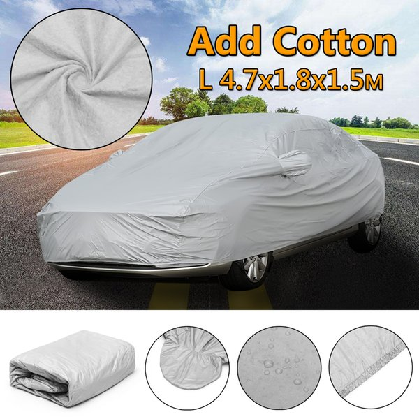 top popular L XL Universal Full Car Cover Snow Ice Sun Rain Protection Outdoor Cotton Waterproof Breathable 4.7X1.8X1.5m 4.9x1.8x1.5m 2020