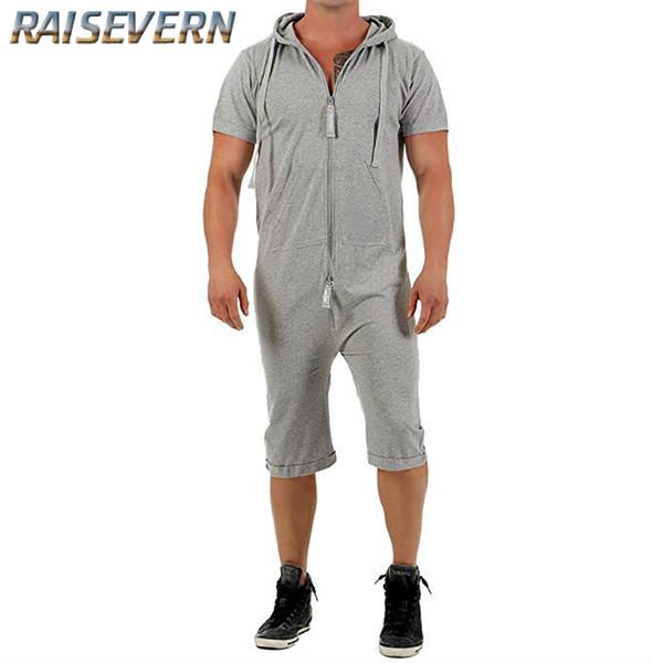 RAISEVERN 2019 Casual Tracksuit Jumpsuit Mens Short Sleeve Sweatshirt Hoodies Romper Mens Overalls Sportswear Dropshipping