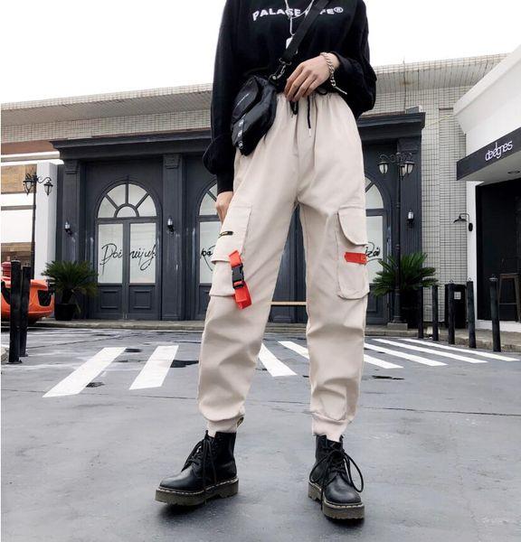 Femmes Streetwear Pantalon Cargo Pants Casual Joggers Noir Taille Haute Lâche Femme Pantalon Harajuku Spoof Ladies Pants