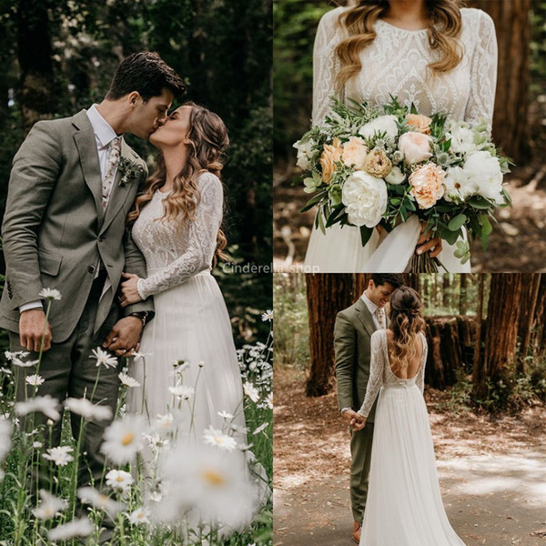2019 Bohemian Lace Beach Wedding Dresses Long Sleeves Chiffon Country A-Line Backless Country Bridal Gowns Real Pictures Marige vestidos