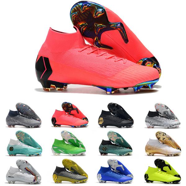2019 Mercurial Superfly VI Soccer Shoes 360 Elite FG KJ 6 XII 12 CR7 SE Ronaldo Neymar Mens Women Boys Football Boots high ankle Cleats