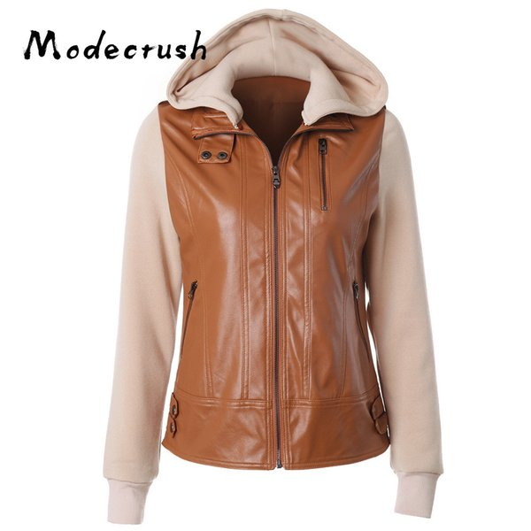 Modecrush Women's Faux Leather Detachable Hooded Jacket Lapel Long Sleeve 2019 Spring Autumn Fashionable Female Coat S-XXXXL