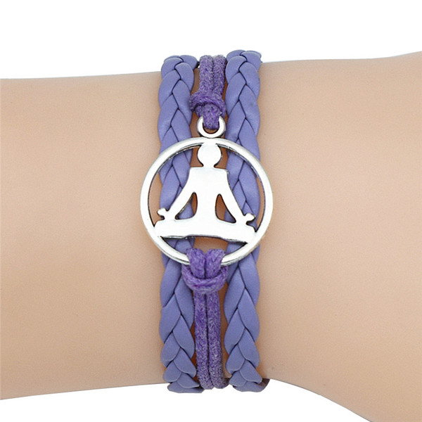 Handwoven Purple Leather Suede Rope Buddhist Buddha Zen Yoga Meditation Bracelets & Bangles New Fashion Women Men Metal Alloy Jewelry Gifts