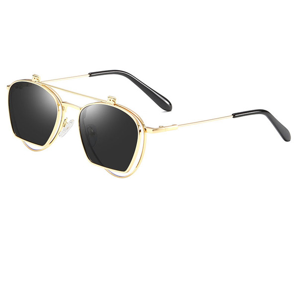 High-end retro men's and women's flip sunglasses round metal frame glasses flip lens top quality flip clear lens Pun sunglasses send box