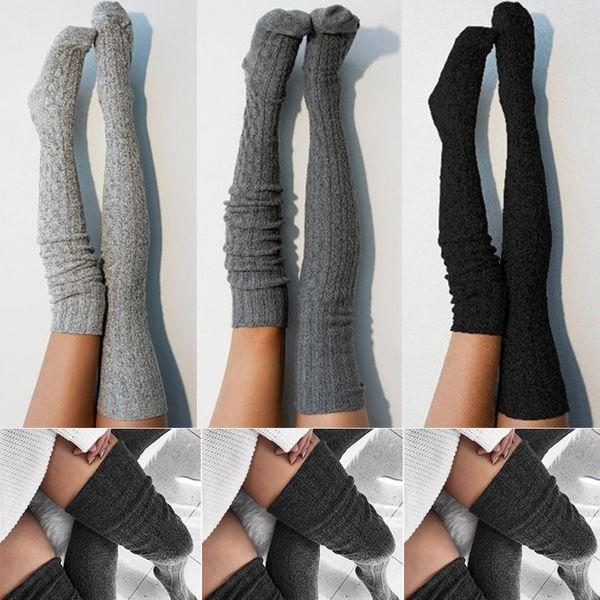 Mulheres Lady lã quente malha Ao longo do joelho meias elevadas da coxa Meias Meias calças justas
