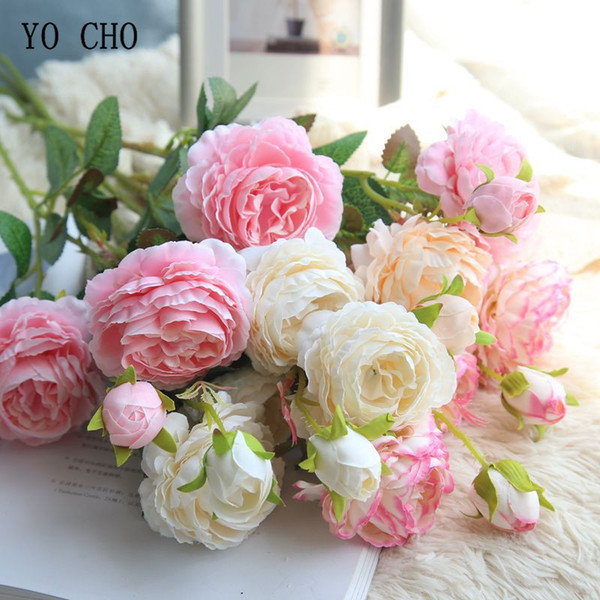 YO CHO Rose Artificial Flowers 3 Heads White Peonies Silk Flowers Red Pink Blue Fake Flower Wedding Decor for Home Peony Bouquet D19011101