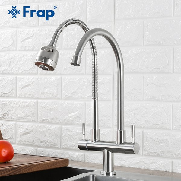 2019 Frap Kitchen Faucet 304 Stainless Steel Dual Handle Single Hole  Kitchen Mixer Sink Tap Single Cold Water Faucet Y40097 From Industrial,  $62.09 | ...