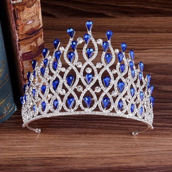 Kmvexo Luxury Multilayers Drop Royal King Wedding Crown Bride Tiaras Hair Jewelry Crystal Diadem Prom Party Pageant Accessories Y19061703