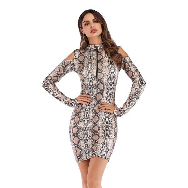 2019 New Fashion Leopard Dresses Zipper Slim Bodycon Dresses Hollow Out On  Shoulders Long Sleeve Women Dress Plus Size Black Dresses For Women Halter  ...