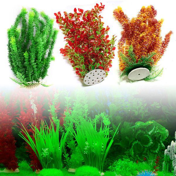 top popular 42cm - 46cm Large Artificial Plant Aquarium PLASTIC PLANTS Water Grass Plants Ornament Fish Tank Landscape Decoration Decor for large tank 2021