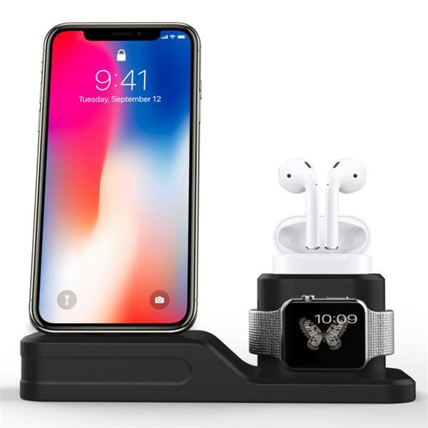 Multifuncional 4 en 1 estación de carga de silicona para soporte Apple Watch para iPhone airpod apple Lápiz