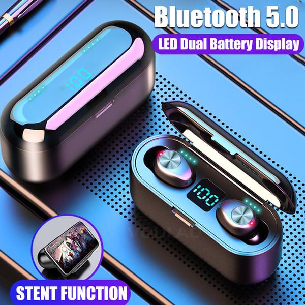 F9 TWS наушники Беспроводной Bluetooth 5.0 HiFi наушники стерео бас гарнитура с микрофоном 2