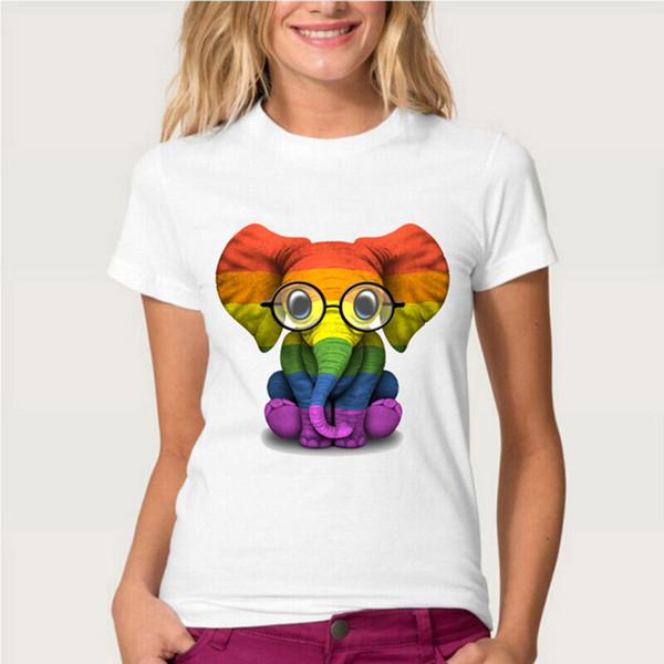 Gözlük Ile bebek Fil Gurur Gökkuşağı Bayrağı T-Shirt Yeni Yaz kadın Üstleri Moda Kadın Casual Tees Kız Kısa Kollu
