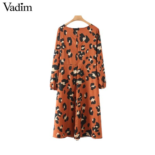 9c0cfdb347d5 Compre Vadim Mujer Estampado De Leopardo Vestido Midi Plisado Patrón Animal  Manga Larga Dividir Moda Femenina Vestidos Casuales Vestidos QA997 A ...