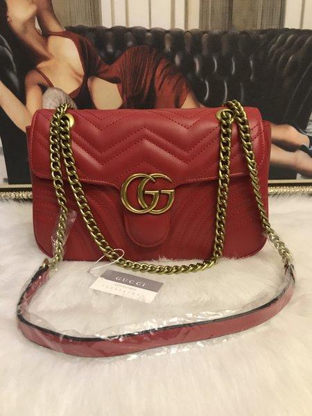 2018 nuovi progettisti arrivati delle donne delle borse di spalla delle donne di lusso della catena d'oro borse borsa crossbody Cuori di alta qualità messaggio femminile bag 26cm