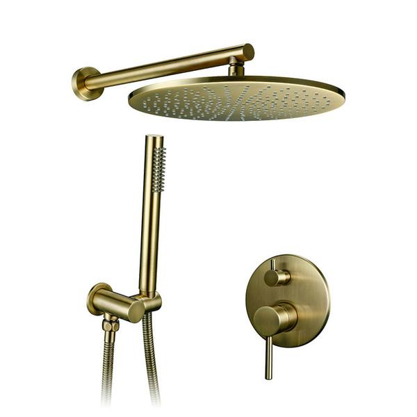 8/10/12 pollici in ottone massiccio doccia set bagno rubinetto rotondo testa di lusso oro handshower Diverter mixer set palmare spray d'oro