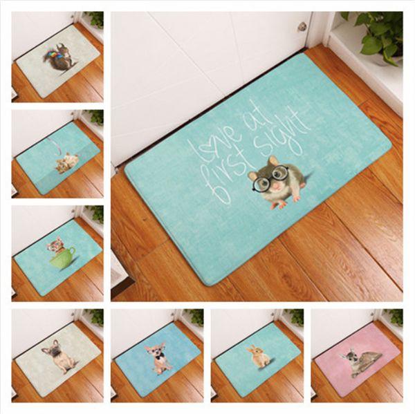 Cartoon Dog Rabbit Deer Dog Doormat Bath Kitchen Carpet Decorative Anti-Slip Mats Room Car Floor Bar Rugs Door Home Decor Gift