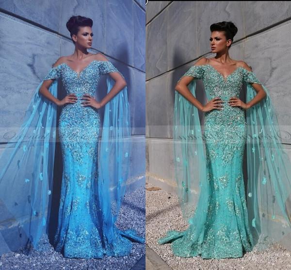 New Luxury Mermaid Abiti da sera Cap Wrap Sleeves in pizzo Appliques in rilievo di cristallo con i fiori del capo blu abiti da festa formale abiti da ballo