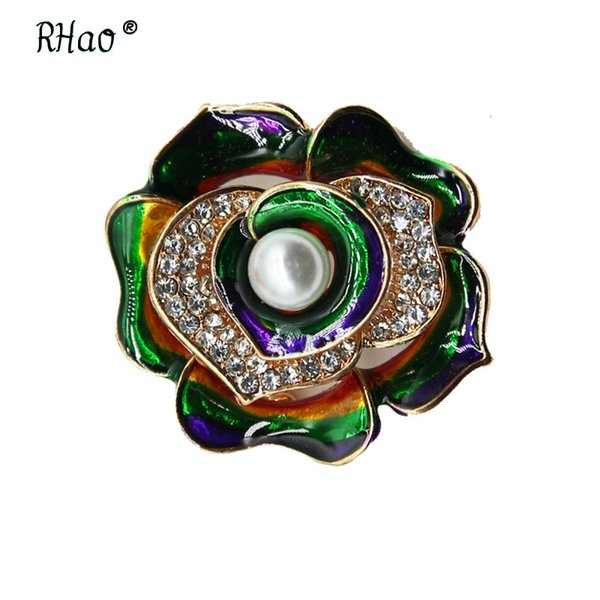 RHao Multi-color Enamel Flower brooches Corsage for Suit coat dress scarf clips Crystal Flower Brooch pins Collar pins broach