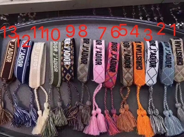 Top quality rope material bracelet with sewing words and tassel famous brand jewelry gift free shipping PS6230