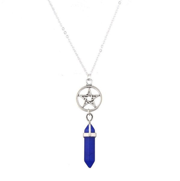 Europe Amercia Fashion Pentagram Pendant Necklace Handmade Jewelry Natural Agate Crystal Point Necklaces for Women Wholesale