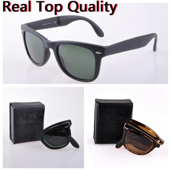 mens sunglasses designer folding women real UV400 glass lenses sun glasses des lunettes de soleil original folding leather case, accessories