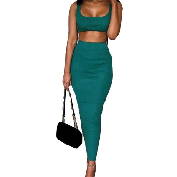 Skinny Tracksuits Women Suits Set Outfits Sleeveless Crop Tops Package Hip Long Skirts Femme Sexy 2 Piece Sets Clubwear M0482 C190416