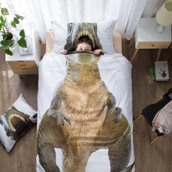 100% Cotton 3D Cartoon Tyrannosaurus Rex Bedding Set Boys Bedlinen Duvet Cover Pillowcase Twin Full Queen King Size Bed Cover 3PCS