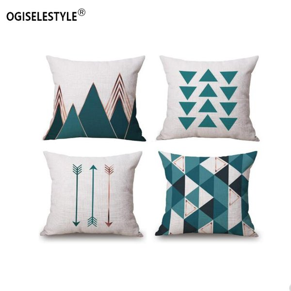 Ogiselestyle Modern Style Geometry Pattern Pillowcase Home Car Decor Sofa Chair Cushion Cover Couch Cotton bedromm Decor Pillow Case