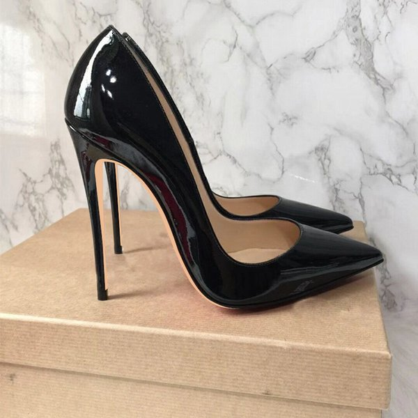 Designer Big Sale Sexy Pointed Toe High Heel Pumps Patente Leather Thin Heels Woman Shoe Rose Pink Green Red Black Nude Dress Heels