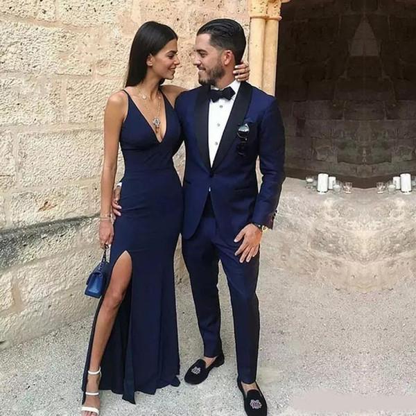 Navy Blue One Button Mens Formal Tuxedos Black Shawl Lapel Wedding Jacket Trim Fit Blazer (Jacket+Pant)Free Fee Bow Tie
