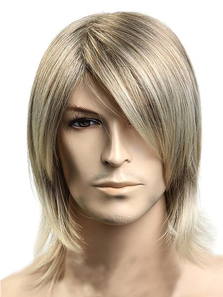 Короткие парики мужские прямые стрижки с челкой мода аниме партии косплей блондинка