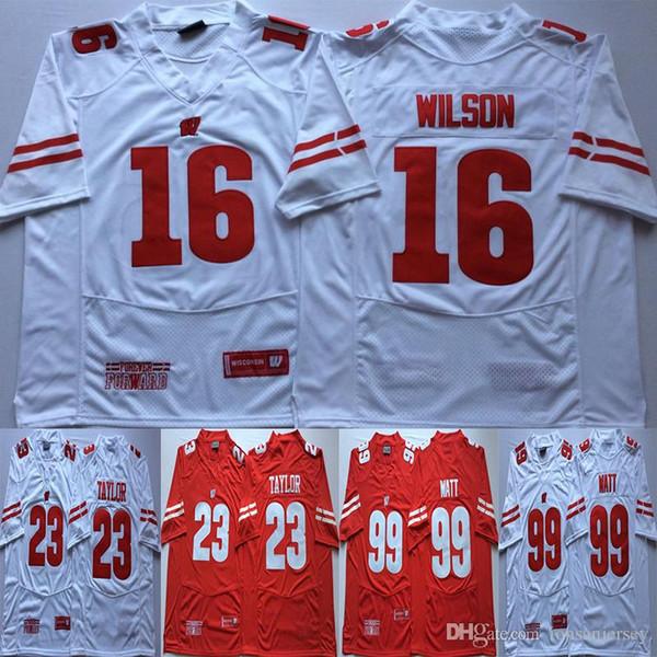 NCAA 23 Jonathan Taylor Fußball-Trikot 16 Russell Wilson 99 JJ Watt Wisconsin Badgers College Fußball Rot Weiß Universität Männer