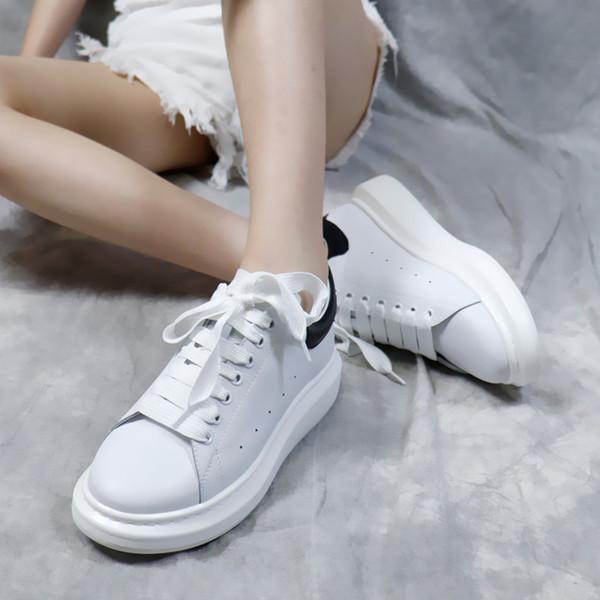 Novos sapatos de grife sapatos de luxo da moda sapatos de couro das mulheres dos homens lace-up plataforma esporte branco e preto mocassins