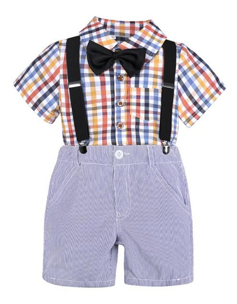 Fashion Baby Boy Clothes Sets Kids Clothing Summer Gentleman Plaid Short Sleeve Shirt+Suspender Shorts Suit Children Clothing Set Outfit