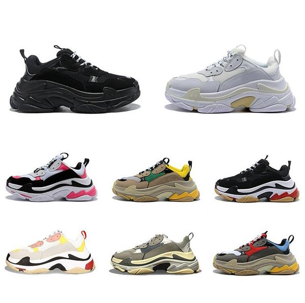 2019 best quality Fashion Triple s Sneakers for men women black red white green pink Casual Dad Shoes tennis increasing shoe