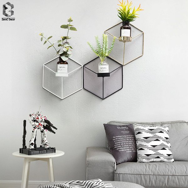 Simple Style 3d Geometric Candlestick Metal Nordic Wall Candle Holder Sconce Matching Small Tealight Scandinavian Home Ornaments SH190716