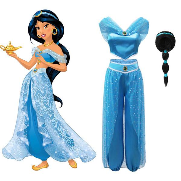 Compre Lámpara De Aladdin Vestido De Jazmín Disfraces Para Niñas Niño Cosplay árabe India Princesa Disfraz Niños Vestidos De Danza Del Vientre A 642