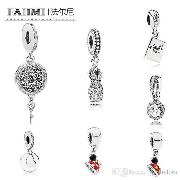 FAHMI 100% 925 Sterling Silver PASSPORT DANGLE KEY HANGING CHARM Premium Gemstone Pendant Mother's Day Gift Original Jewelry