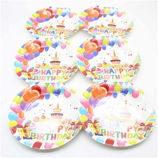 6pc / set 9 pouces plaque bonbons thème fête ballon thème vaisselle vaisselle jetable anniversaire événement joyeux anniversaire fournitures